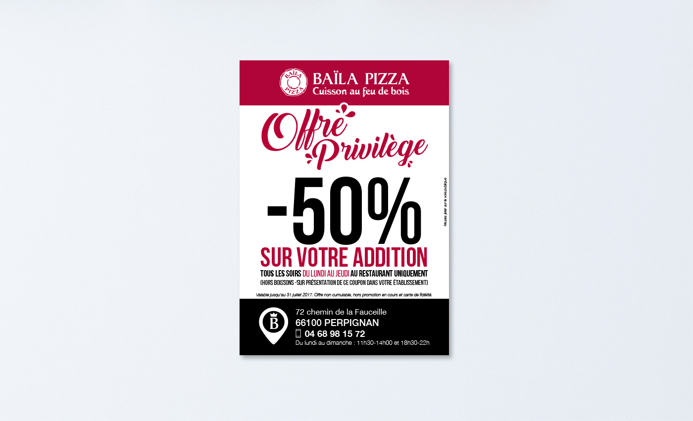 Baila Pizza - Flyer - Agence de communication digitale à Perpignan B-now